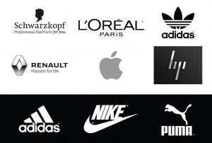 black grey and white logos
